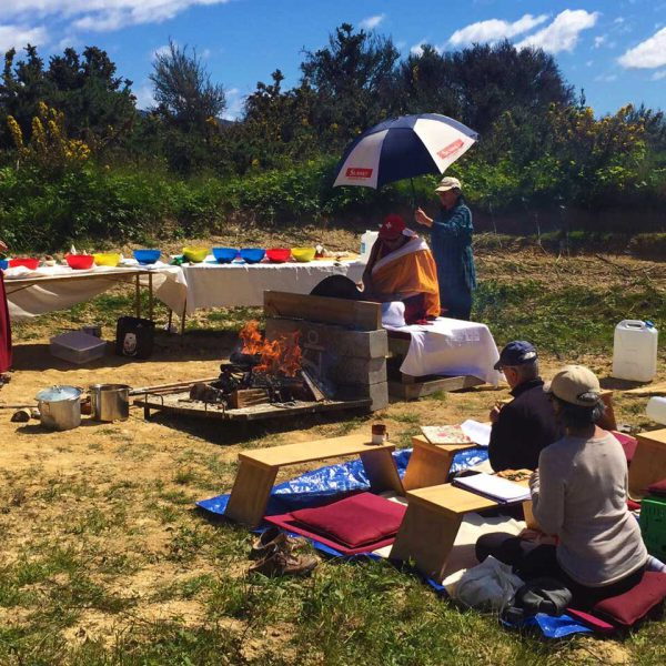 Fire puja on the land